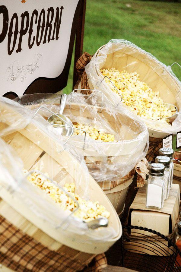 popcorn barFall Festivals, S'Mores Bar, Late Night Snacks, Paper Flower, Rustic Popcorn, Parties Ideas, Popcorn Bar, Outdoor Movie Night, Food Bar