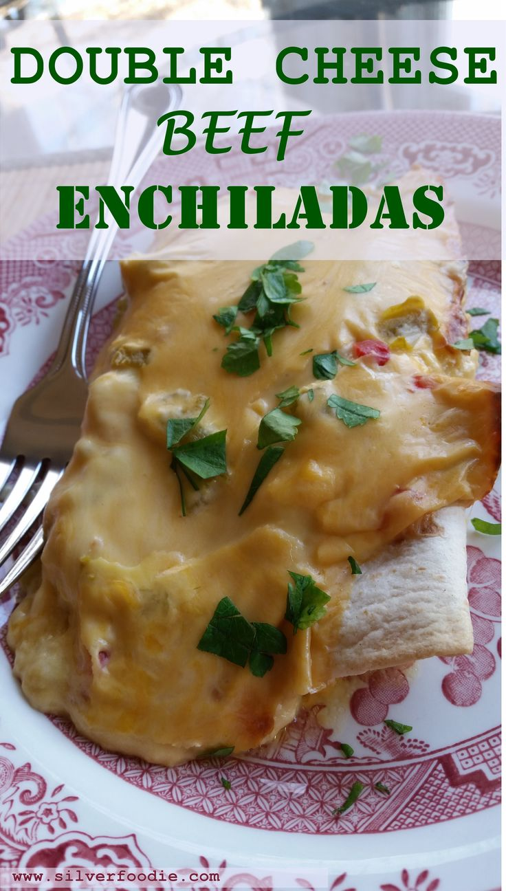 Double Cheese Beef Enchiladas If you like cheeseburgers, you'll love Double Cheese Beef Enchiladas! Double Cheese Beef Enchiladas are flour (or corn) tortillas filled with a ground beef (or turkey), cheddar cheese, garlic and onion filling, covered with a cheesy sauce containing mild green chilies and diced pimentos and baked to cheesy perfection! … Continue reading →