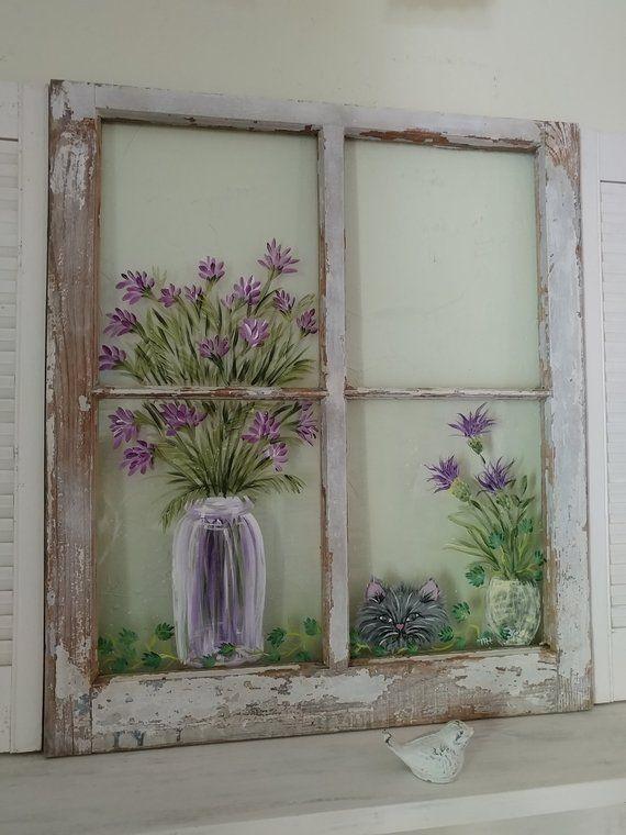 Window Wall Art Shabby Chic Decorcat Windowwindow Etsy Painted Window Art Window Art Window Pane Art