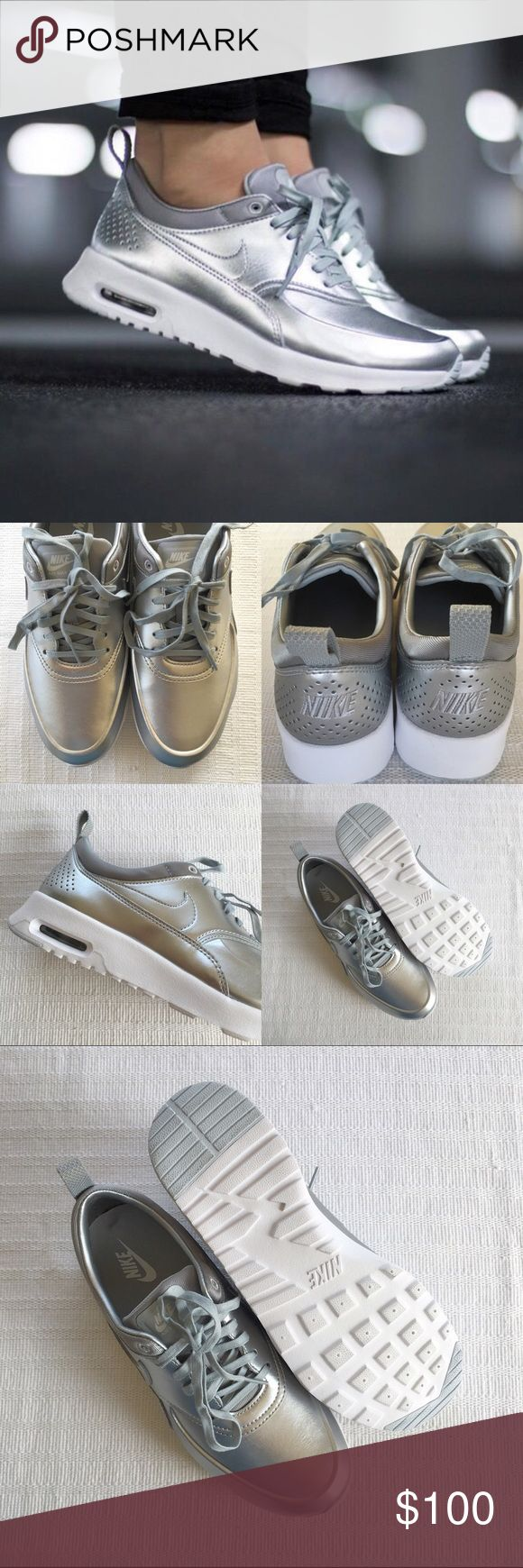 Women's Nike Air Max Thea Metallic Sneakers Women's Nike Air Max Thea Metallic Sneakers Style/Color: 819640-001  • Women's size 8.5  • NEW in box (no lid) • No trades •100% authentic Nike Shoes Sneakers