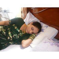 Indian Desi Aunty in Sleeping Mood and in Green Saree