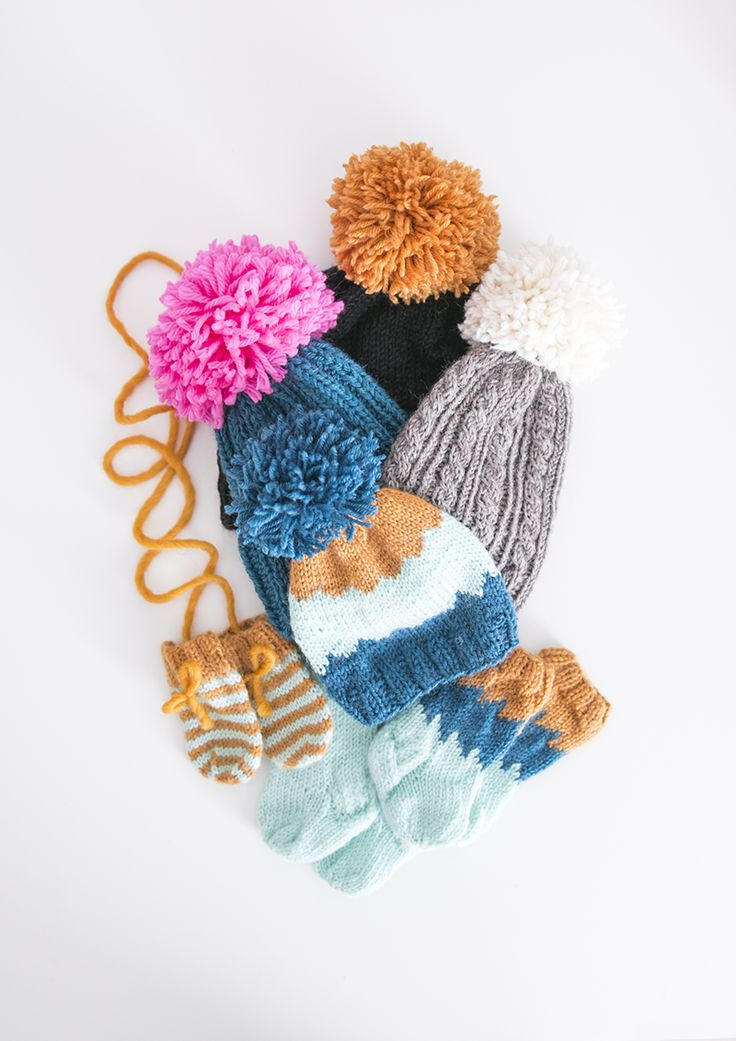 Colorful knittings for a baby
