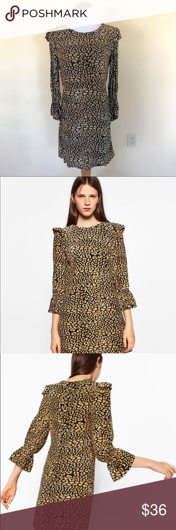 Zara Leopard Cheetah Print Ruffle Sleeve Dress Super cute dress from Zara! Animal print with ruffle details and bell sleeves. No flaws on the dress but the Zara label has been cut out. Size XL. Check out my closet for bundles! Zara Dresses