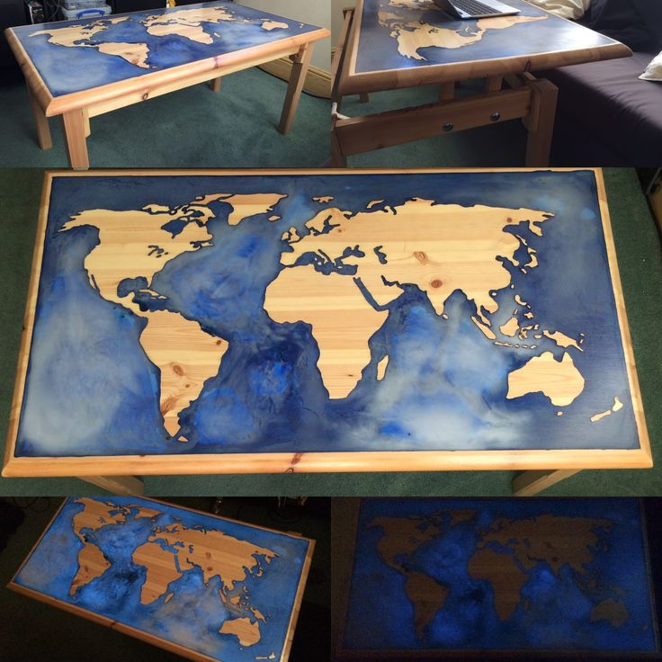 Glow In The Dark Epoxy And Pine World Map Coffee Table