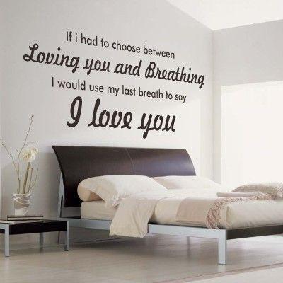 """Adesivo Murale - I Love You. Frase romantiche.  Adesivo murale di alta qualità con pellicola opaca di facile installazione. Lo sticker si può applicare su qualsiasi superficie liscia: muro, vetro, legno e plastica.  L'adesivo murale """"I Love You"""" è ideale per decorare la camera da letto. Adesivi Murali."""