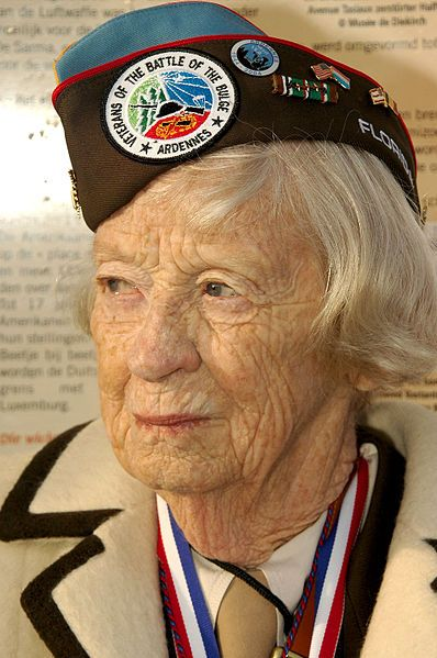 World War II U.S. Army veteran and Nurse who served in the Battle of the Bulge. Lt. Katherine Flynn Nolan. There are some beautiful articles about her on NPR