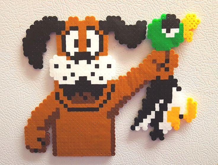 Duck Hunt Dog, Super Mario Bros, Duck Hunt, perler bead art, 8 bit pixel, handmade dog, unique retro gift for gamers, fridge magnet, NES by PerlPop on Etsy https://www.etsy.com/listing/269058902/duck-hunt-dog-super-mario-bros-duck-hunt