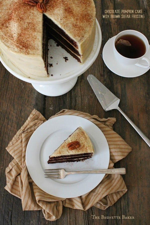 Chocolate Pumpkin Cake with Brown Sugar Frosting | The Brunette Baker