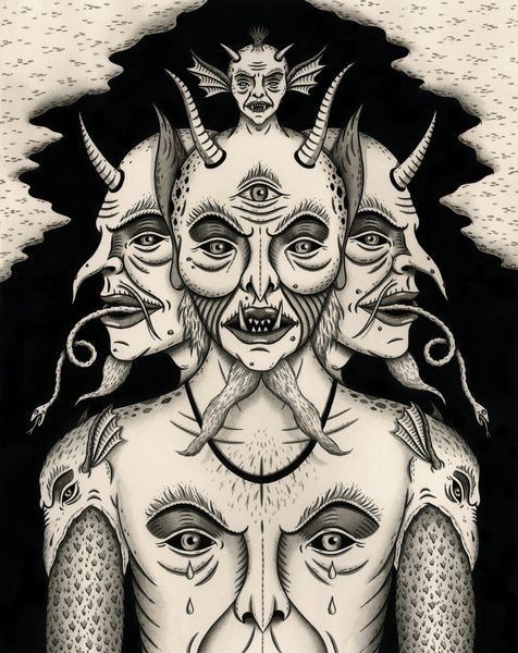 """'Weeping Demon"""" - 2013 - India ink on paper - 11"""" x 14"""" - SOLD Get a print here:http://society6.com/jonmacnair/Weeping-De..."""