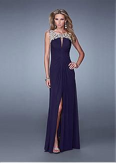 Chic Tulle & Chiffon Keyhole Neckline Floor-length A-line Prom Dress