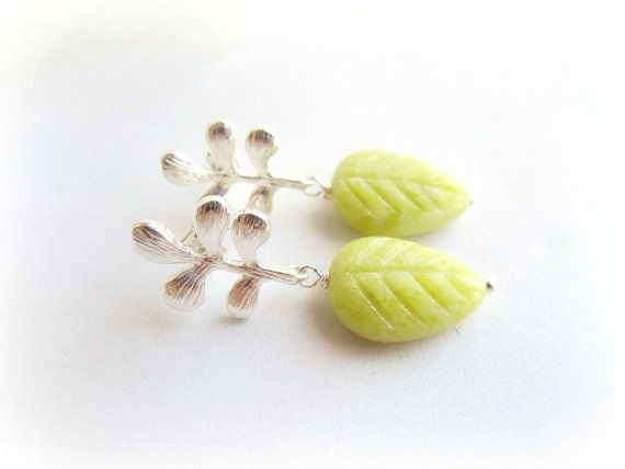 Leaf earrings olive jade earrings carved by MalinaCapricciosa