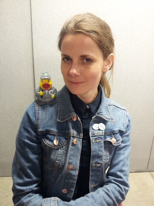 Louise Brealey, who plays Molly Hooper, with Baker Street Babes' Sherlock duck