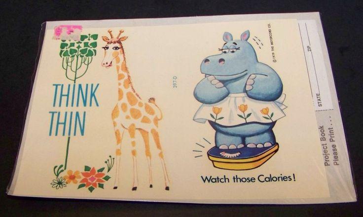 Vintage Wall Decals Giraffe Hippo Diet Think Thin Retro 397-D Meyercord 1979…