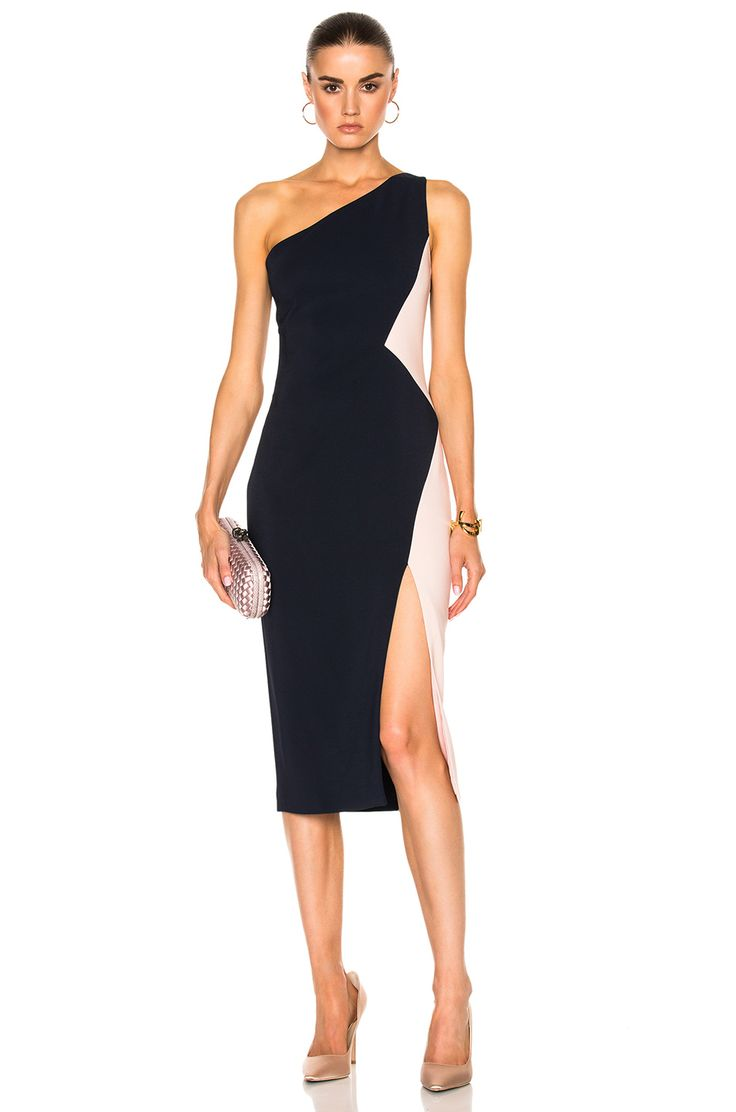 Image 1 of Cushnie et Ochs One Shoulder Color Block Stretch Viscose Dress in Navy & Shell