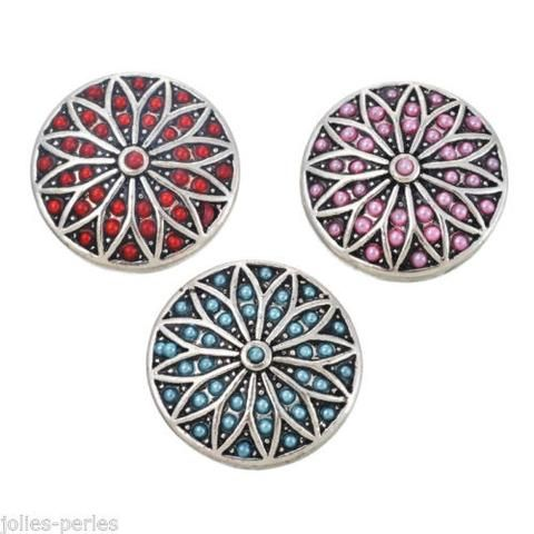 JP 3 PCs Silver Tone Mixed Round Rhinestone Pearl Snap Button Click Jewelry 2cm