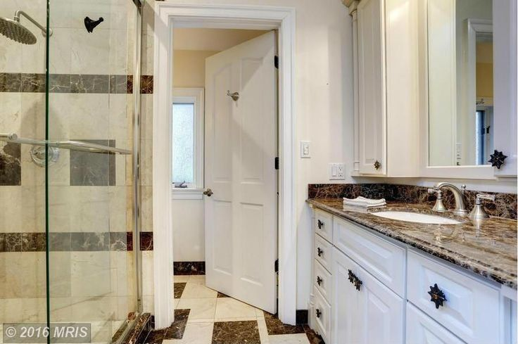 Traditional 3/4 Bathroom with Custom Mirrors, Semi-Frameless Sliding Glass Doors by Dulles Glass and Mirror