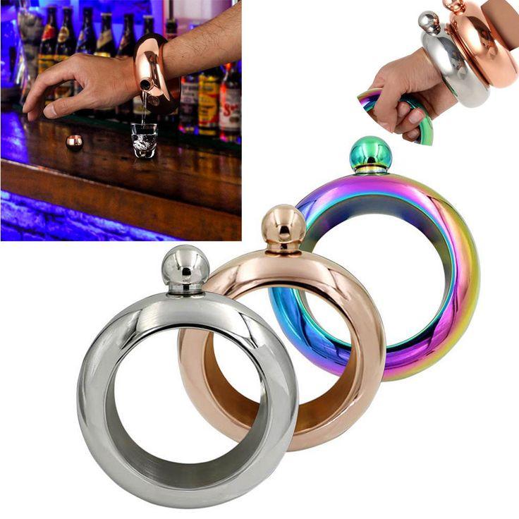 3.5oz Stainless Steel Jug Bracelet Alcohol Hip Flasks Funnel Bangle Bracelet Jewelry Gift Funnel Bangle 3 colors  #Affiliate