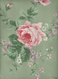 Amazing Sage & Pink Roses Wallpaper