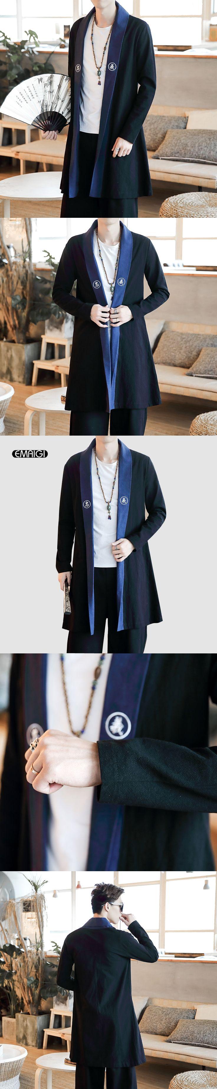 Men Cotton Linen Long Slim Fit Coat Chinese Style Robes Jacket Kimono Male Cardigan Overcoat