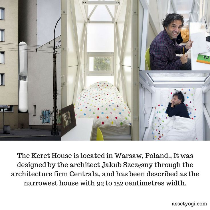 The Keret House is located in Warsaw, Poland., It was designed by the architect Jakub Szczęsny through the architecture firm Centrala, and has been described as the narrowest house with 92 to 152 centimetres width.   #RealEstate #Architecture #AssetYogi