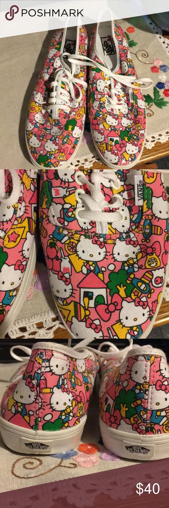 Vans authentic Hello Kitty Lace up shoes Adorable Hello Kitty shoes from Vans.  Perfect for any Hello Kitty lover.  Size 10 women's. Brand new, never worn. Vans Shoes Sneakers