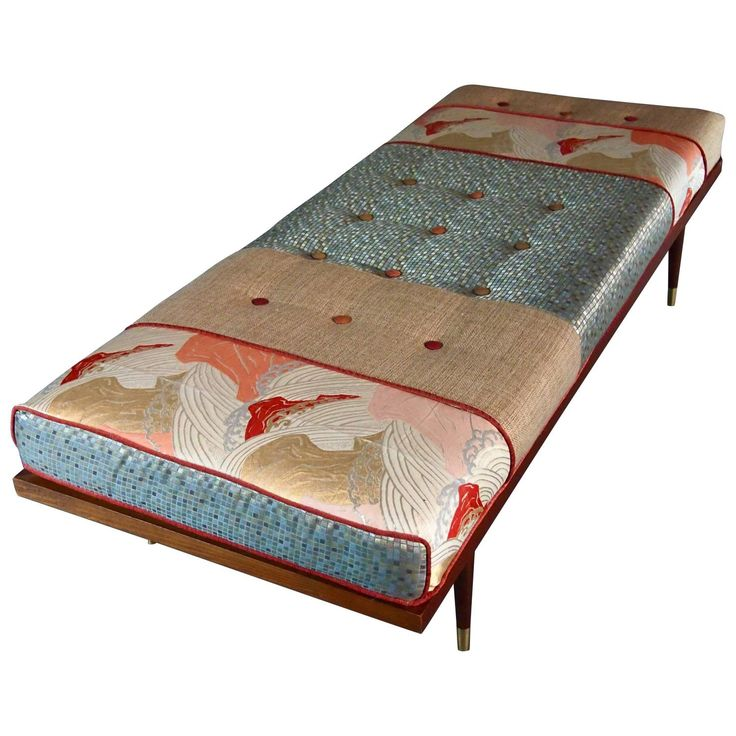 Midcentury Daybed with Vintage Obi | From a unique collection of antique and modern day beds at https://www.1stdibs.com/furniture/seating/day-beds/