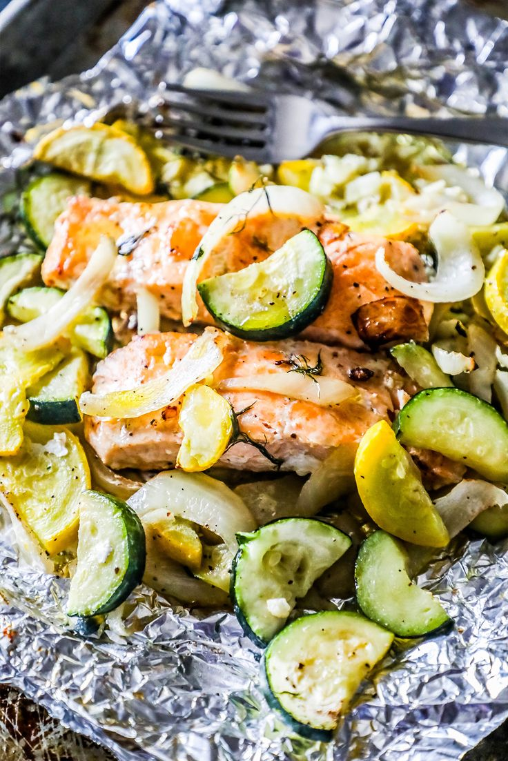 Garlic Herb Salmon and Zucchini Foil Packets