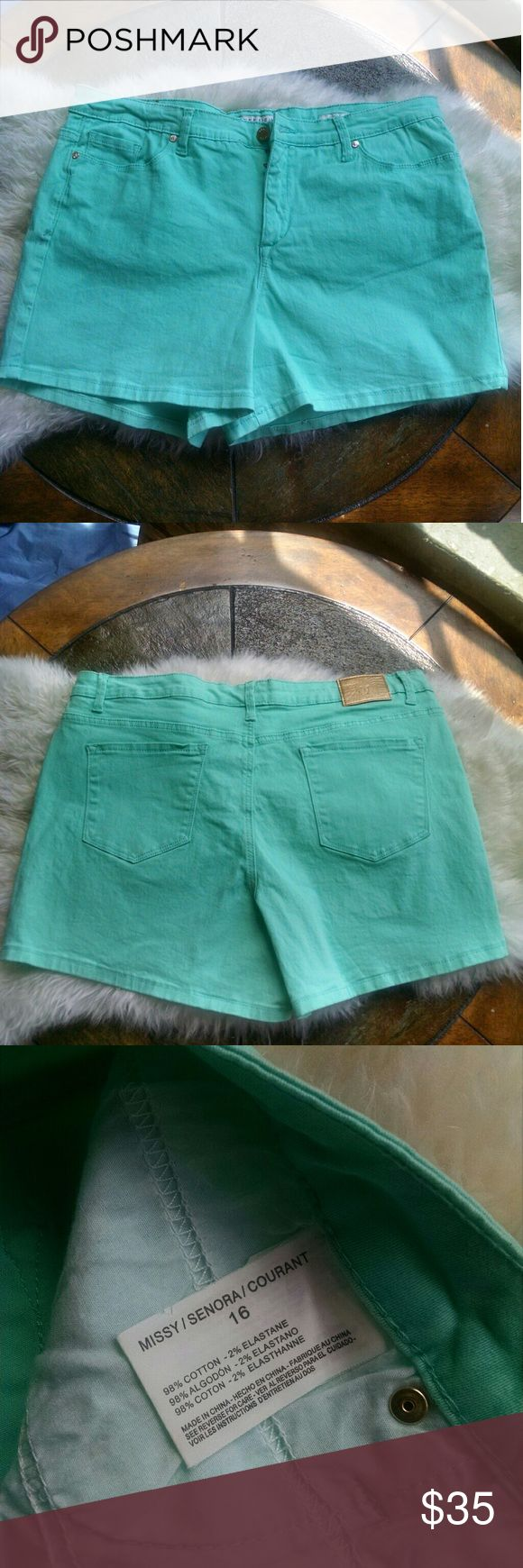 Mint Green Shorts by Anne Klein, 16 Adorable mint green Anne Klein shorts with gold accents. Stretch denim like material. Anne Klein Shorts