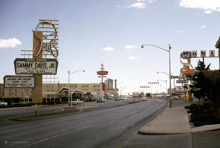 The Strip, June 1966 Standing at Castaways, looking south towards Sands, Denny's, Caravan Motor Hotel, Tumbleweed Motel, Dunes. Sammy Davis Jr & Lola Falana at Sands - 6/6/66.