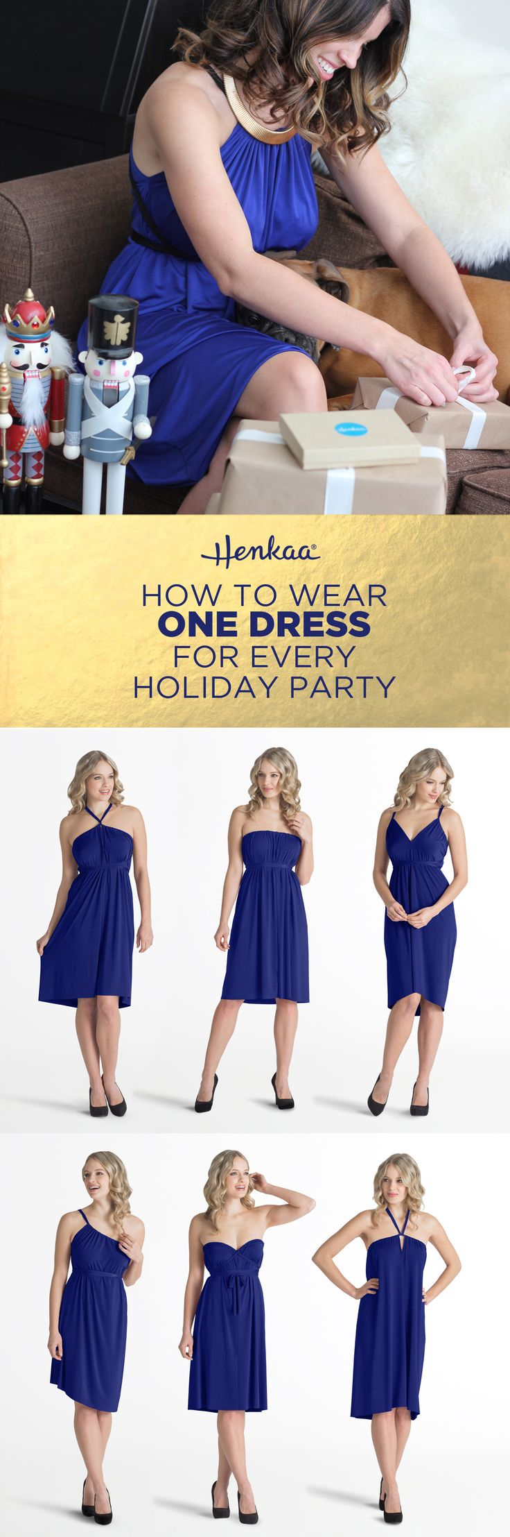 How to wear one dress for every holiday party- The Ivy Convertible Dress easily changes style with just a simple change of the drawstrings.