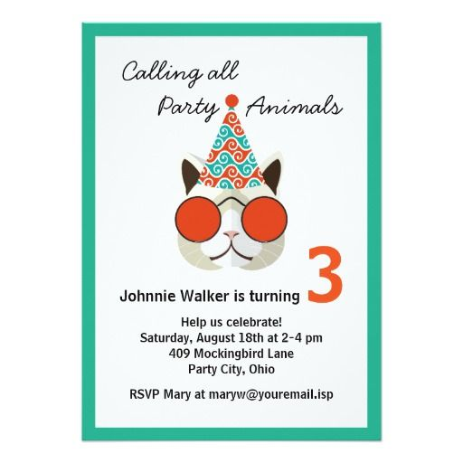 444 best funny birthday party invitations images on pinterest funny birthday party animal all ages 5x7 paper invitation card stopboris Choice Image