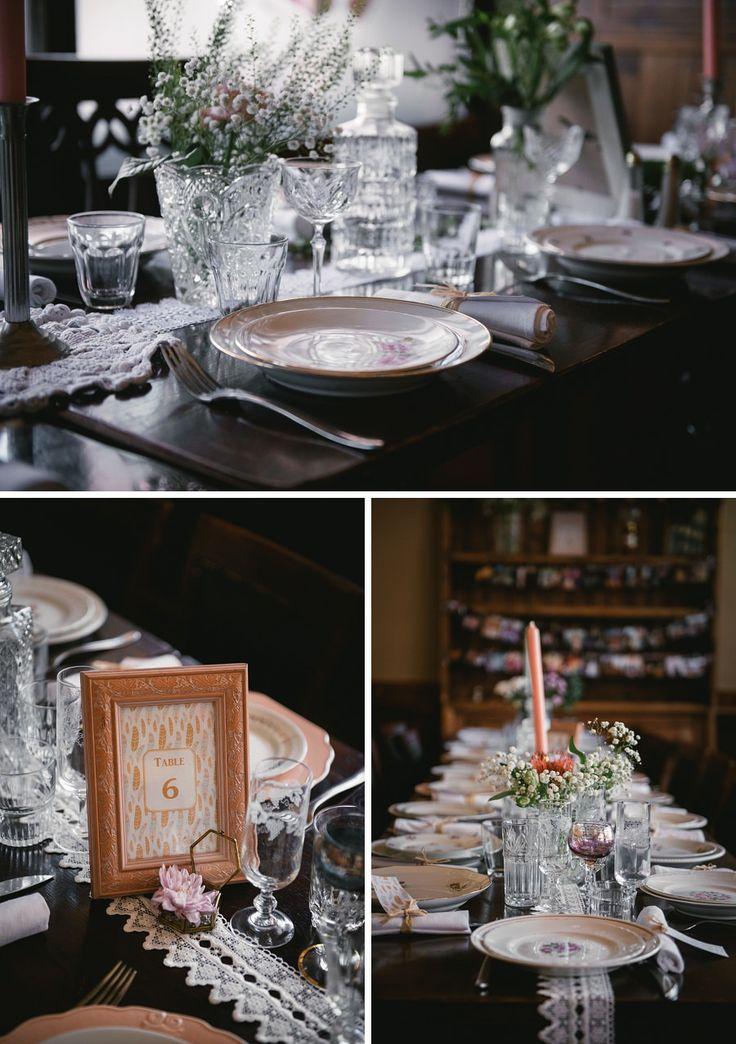 Vintage wedding table decoration - Zephyr & Luna photography