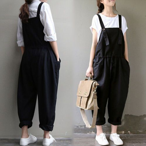 Details about Korean Women Ladies Cotton Linen Plus Size Suspender Harem Pants…