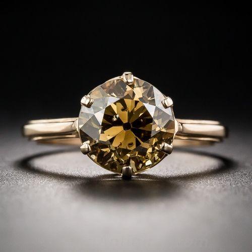 2.66 Carat Fancy Brown Diamond Ring; hand fabricated in rich 18K rose gold ring, beams an enchanting, deep cognac colored European-cut diamond, weighing 2.68 carats. Art Deco