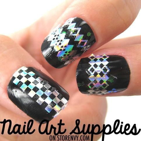 Dimonds Nails : Checkered Diamond Nail Art DIY Decal Stickers in Shiny Silver $1.99 #nails