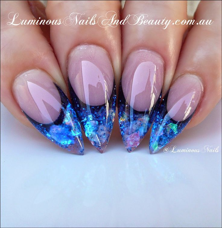 201 best acrylic nail art designs images on pinterest acrylic luminous nails luminous sapphire blue acrylic nails step by step instructions prinsesfo Choice Image