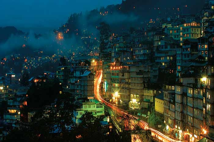 Gangtok, Sikkim at night. Explore Eastern India with us! http://www.kennethphotography.com/india