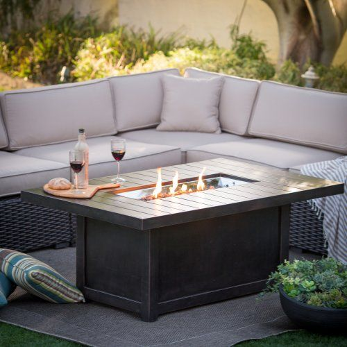 Napoleon rectangle propane fire pit table fire pits at for Foyer d exterieur table luca
