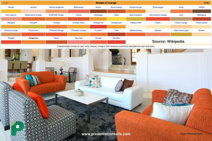 MY SWEET TANGERINE: In tough economic times, orange evokes spontaneity. It keeps us motivated and looking toward the positive.  Read more at http://www.empower-yourself-with-color-psychology.com/color-orange.html #presentationsells #orange #livingroom #sofa #home decor #colourpsychology