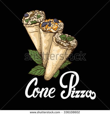 cone pizza Vector illustration in EPS10 format, retro style, on the theme of food.