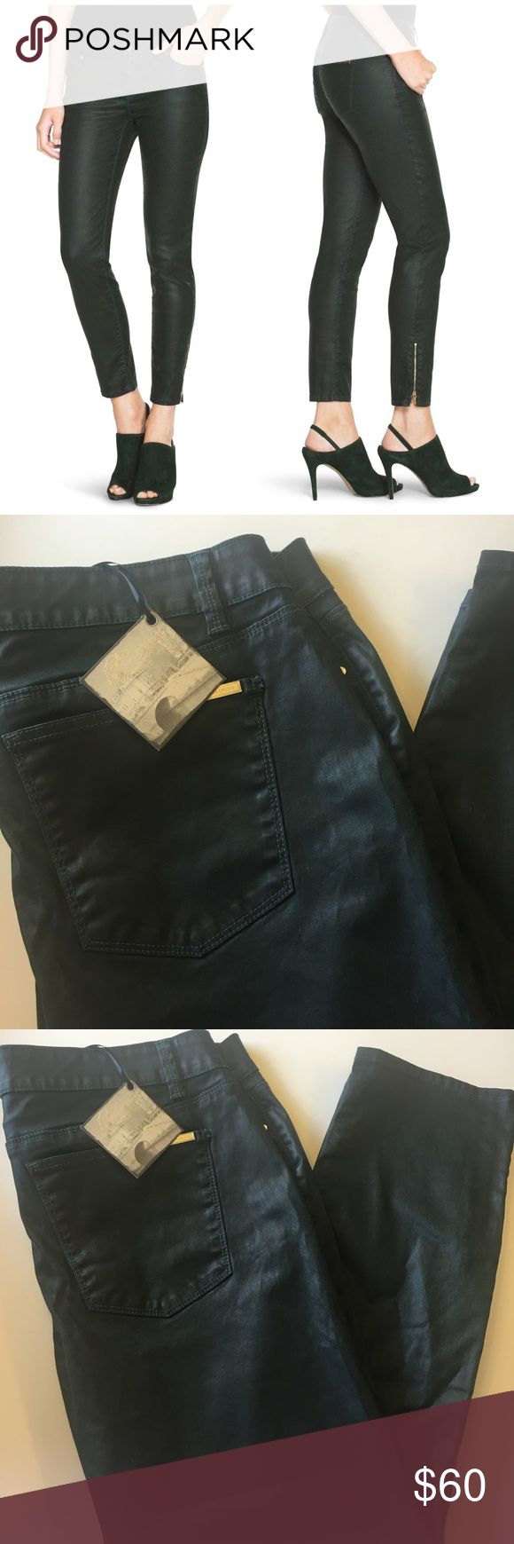 NWT WHBM Dark Green Wax Coated Skinny Zipper Pants So cute and perfectly on trend! Great dressed up or down! Super dark teal green with a wax coating. Size 14. Zipper detail at the ankle. No trades!! 031217150gwpg White House Black Market Pants Skinny