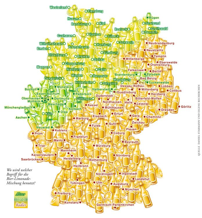 Deutschlandkarte: Radler oder Alsterwasser? | ZEIT ONLINE