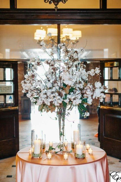 Cotton and Magnolia Tall Centerpiece | Cylinders with Split Peas | Southern Wedding | Historic Rice Mill | Designed by Engaging Events