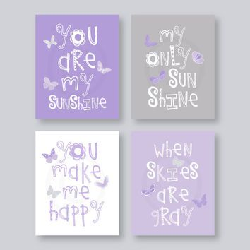 SALE Kids Wall Art Purple and Gray Nursery Decor Prints on paper - You Are My Sunshine - butterflies  - baby shower gift, for girl 010