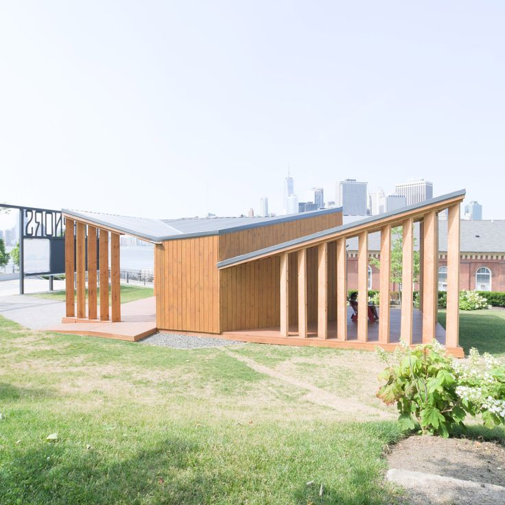 US studio Office III has constructed a visitors' centre for Governors Island in New York City using marine-grade plywood and cedar decking.