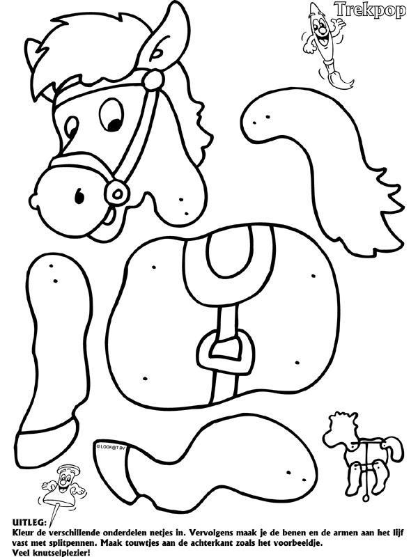 Paard - Trekpop - Knutselpagina.nl - knutselen, knutselen en nog eens knutselen.
