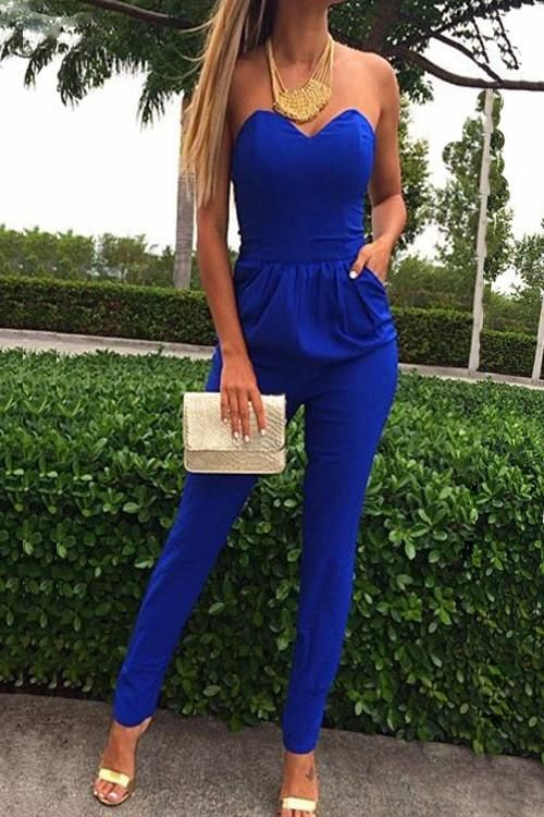 65e3dce57470 Cheap Sexy Strapless Off The Shoulder Sleeveless Pockets Design Solid Blue  Cotton Blend One-Piece Skinny Jumpsuit