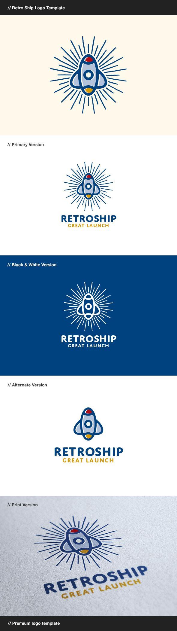 Retro Ship  Rocket Logo — Vector EPS #marketing #multimedia • Download ➝ https://graphicriver.net/item/retro-ship-rocket-logo/8123016?ref=pxcr