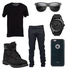 """All Black Party Outfit for Men"" by deajhaboyd on Polyvore featuring Timberland, Yves Saint Laurent, Dolce&Gabbana, Moshi, FOSSIL, men's fashion and menswear"