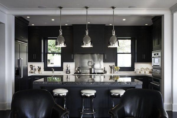 Kitchen Island   Barstool Ideas   Black Cabinets   Black Chairs   Black Color   Monochrome Interior   Color Quote